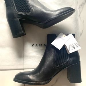 Zara Leather Heeled Ankle Boots
